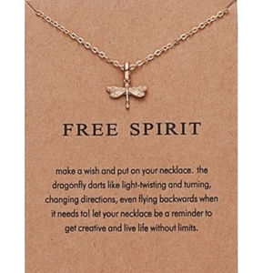 Gold color Dragonfly Pendant Necklace